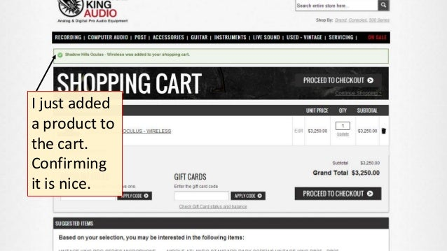 I just added a product to the cart. Confirming it is nice.