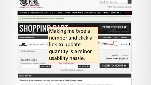 Making me type a number and click a link to update quantity is a minor usability hassle.