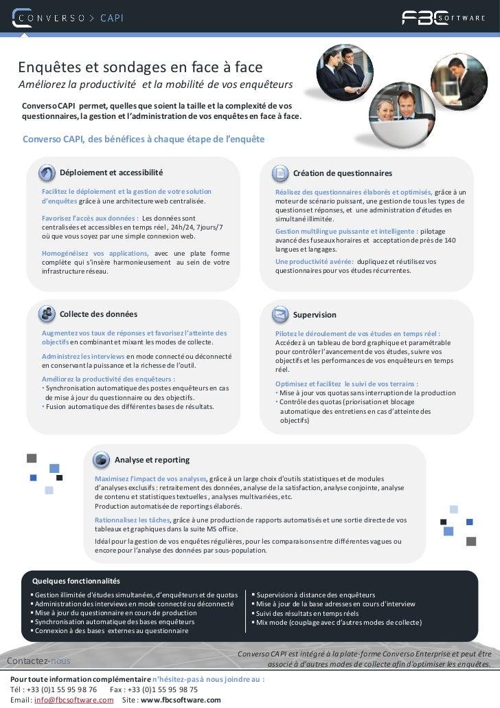 Enquêtes et sondages en face à face  Améliorez la productivité et la mobilité de vos enquêteurs   Converso CAPI permet, qu...