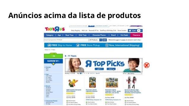 Anúncios acima da lista de produtos