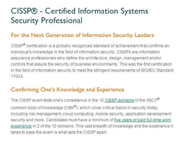 Cissp Certification Training Cost Exam Fee Sample Questions Course El