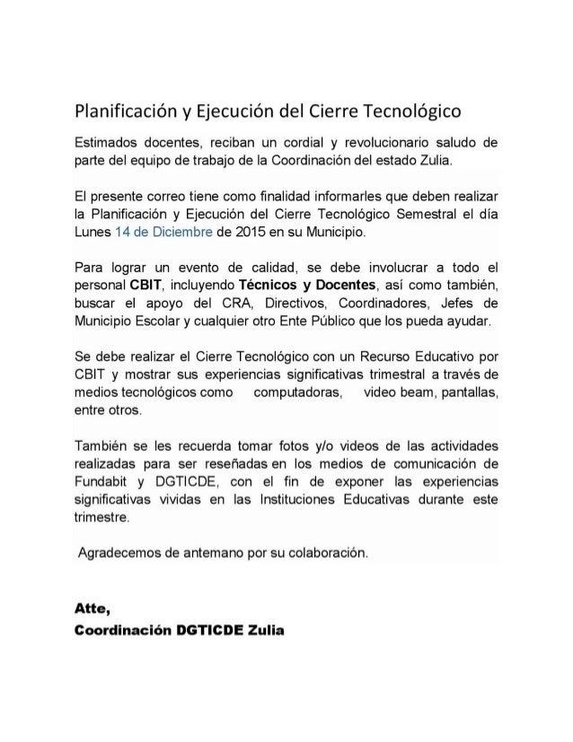 CIERRE TECNOLÓGICO 2015