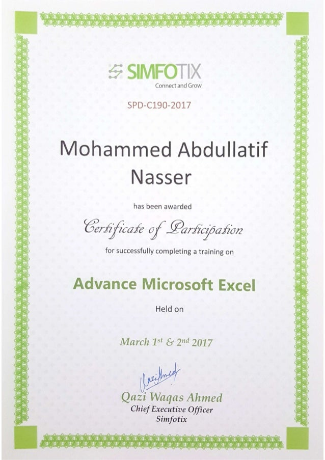 Excel Training Certificate