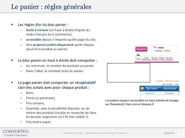Le panier : règles générales   Les règles d'or du bon panier :     –   facile à trouver (en haut à droite d'après les    ...