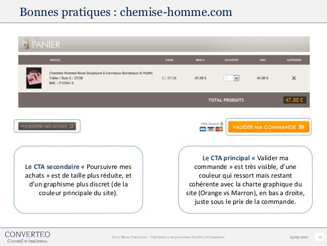Bonnes pratiques : chemise-homme.com                                                                                Le CTA...