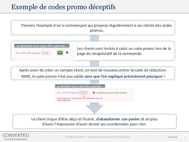 Exemple de codes promo déceptifs   Prenons l'exemple d'un e-commerçant qui propose régulièrement à ses clients des codes  ...