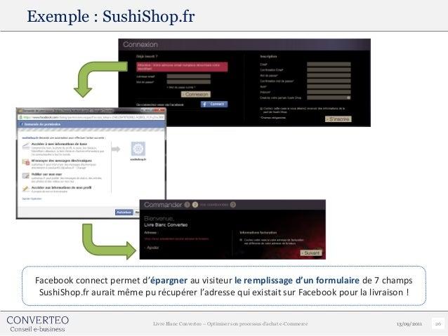 Exemple : SushiShop.fr Facebook connect permet d'épargner au visiteur le remplissage d'un formulaire de 7 champs  SushiSho...
