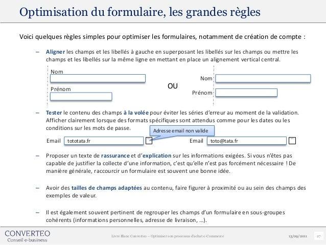 Optimisation du formulaire, les grandes règlesVoici quelques règles simples pour optimiser les formulaires, notamment de c...
