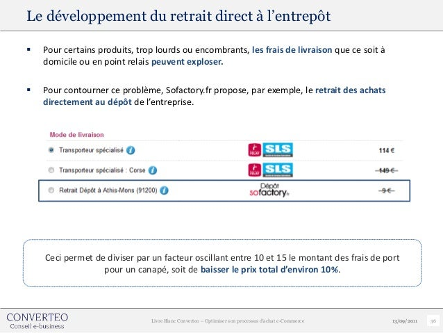 Le développement du retrait direct à l'entrepôt   Pour certains produits, trop lourds ou encombrants, les frais de livrai...