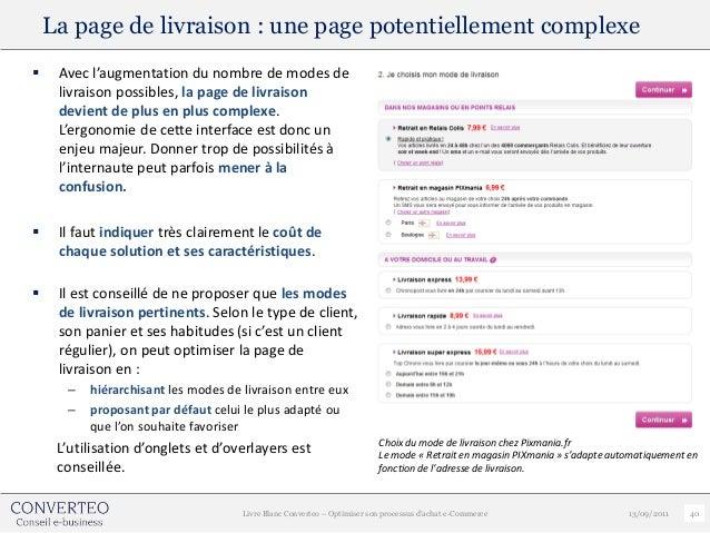 La page de livraison : une page potentiellement complexe    Avec l'augmentation du nombre de modes de     livraison possi...