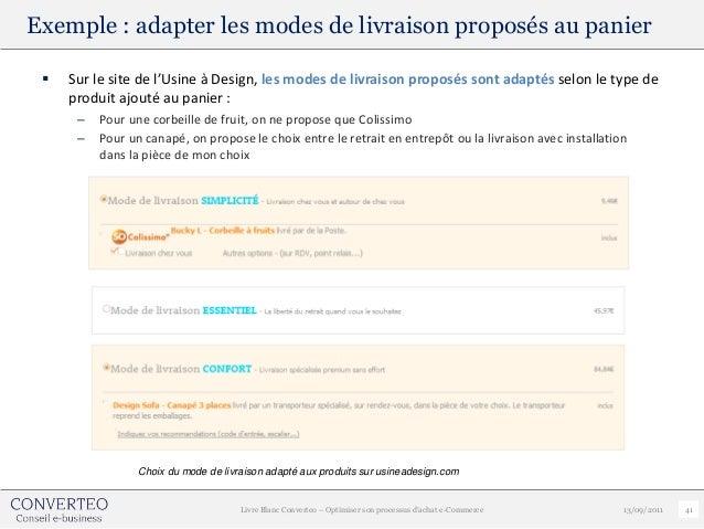 Exemple : adapter les modes de livraison proposés au panier    Sur le site de l'Usine à Design, les modes de livraison pr...