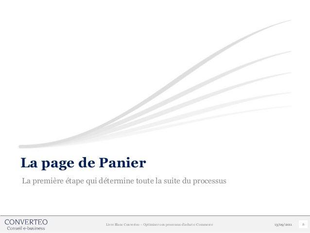La page de PanierLa première étape qui détermine toute la suite du processus                        Livre Blanc Converteo ...