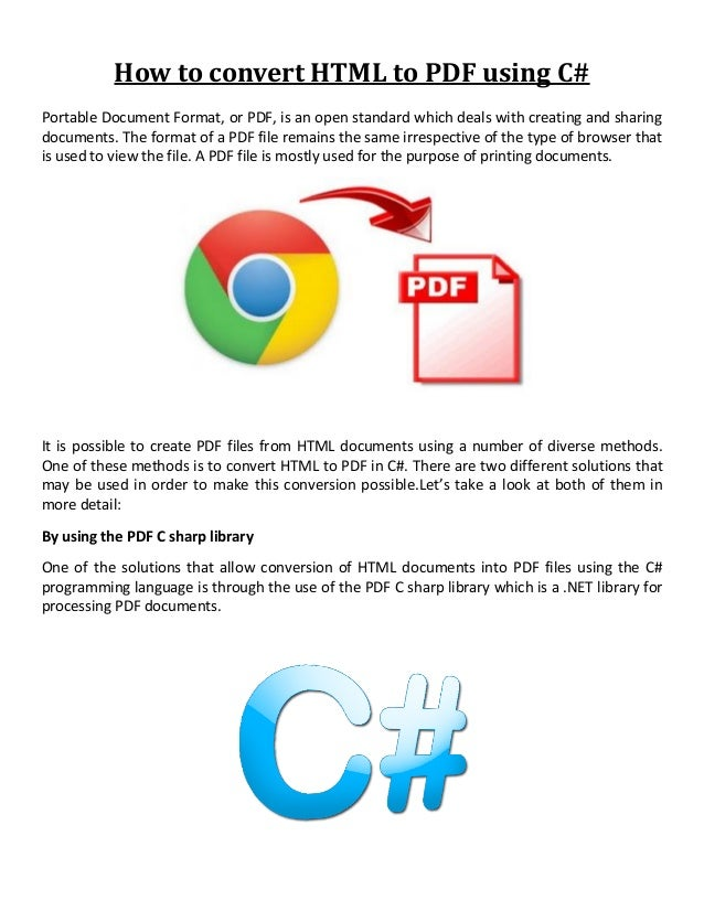 How to convert HTML to PDF using C#