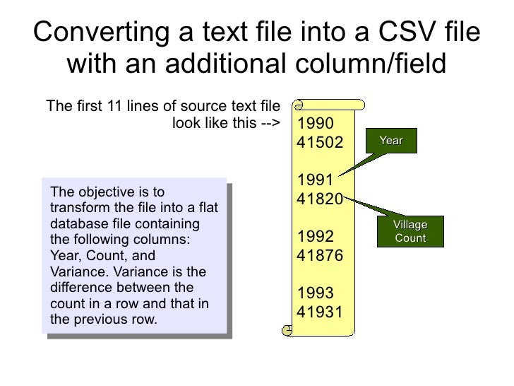 Converting a text file into a CSV file   with an additional column/field  The first 11 lines of source text file          ...