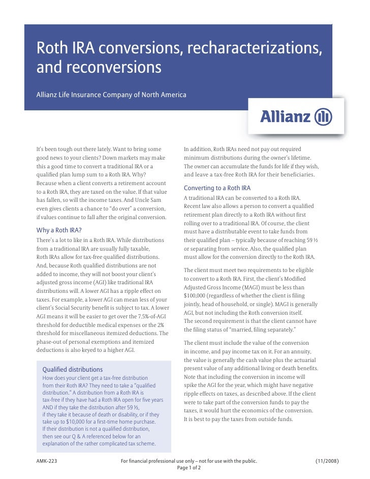 Roth IRA conversions, recharacterizations, and reconversions Allianz Life Insurance Company of North America     It's been...