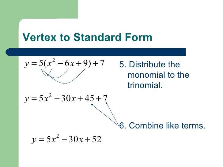 Converting Vertex Form To Standard Form