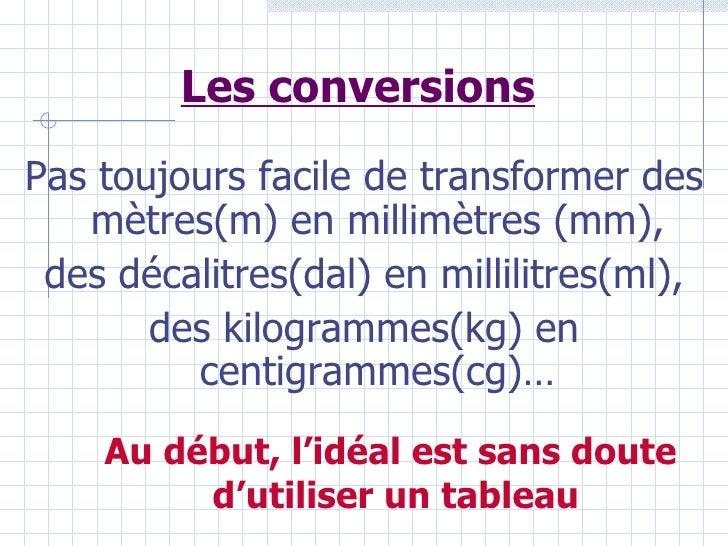 Les conversions Pas toujours facile de transformer des    mètres(m) en millimètres (mm),  des décalitres(dal) en millilitr...