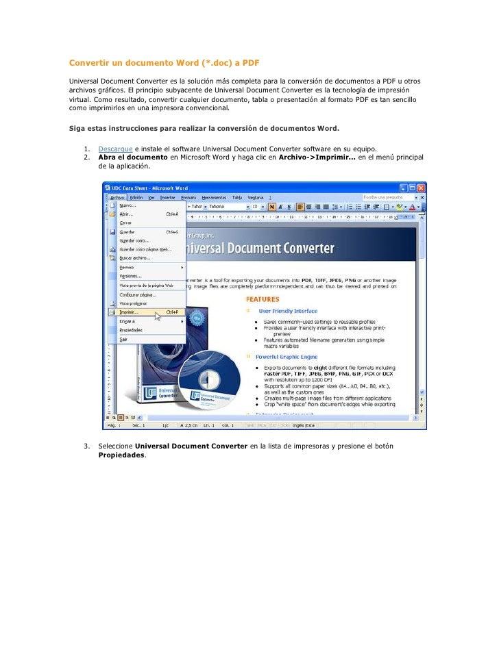 Convertir un documento Word (*.doc) a PDF  Universal Document Converter es la solución más completa para la conversión de ...