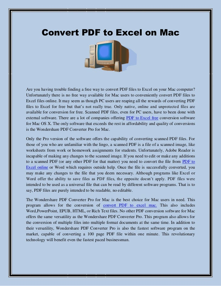 Convert PDF to Excel on MacAre you having trouble finding a free way to convert PDF files to Excel on your Mac computer?Un...