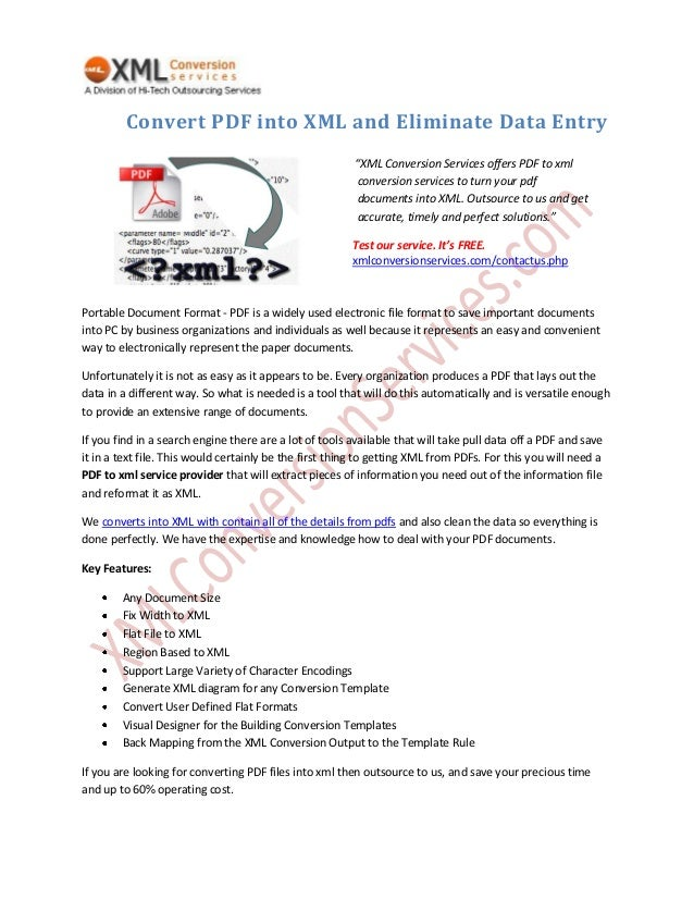 Convert PDF into XML and Eliminate Data Entry