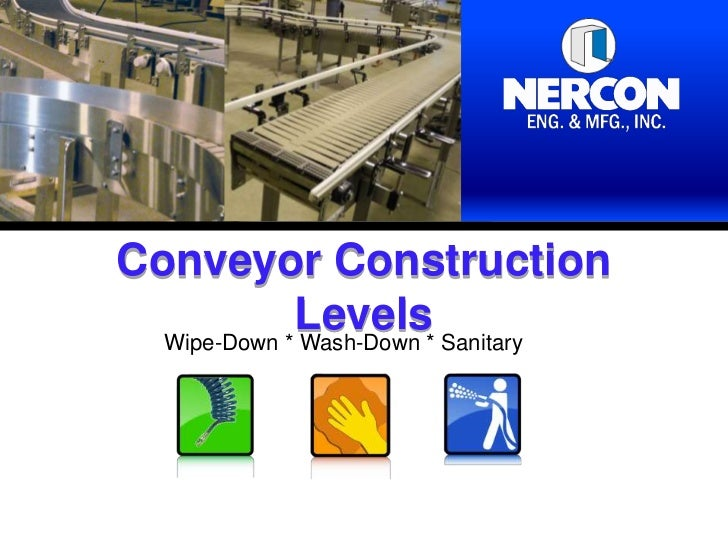 Conveyor Construction             Levels* Sanitary  Wipe-Down * Wash-Down