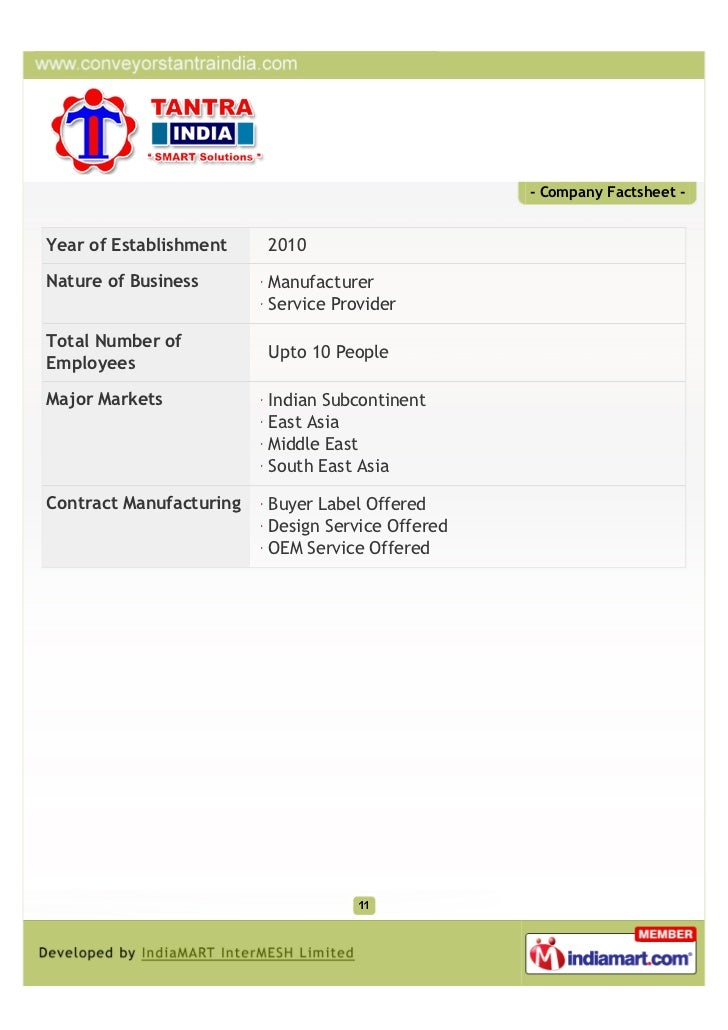 - Company Factsheet -Year of Establishment    2010Nature of Business       Manufacturer                         Service Pr...
