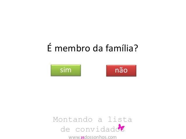 É membro da família?  sim não  Montando a lista  de convidados  www.15dossonhos.com