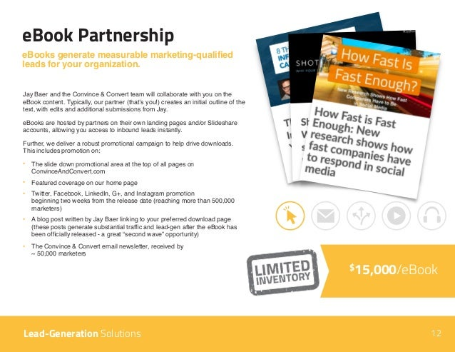 12 eBook Partnership Lead-Generation Solutions eBooks generate measurable marketing-qualified leads for your organization....