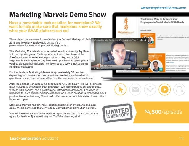 Marketing Marvels Demo Show Have a remarkable tech solution for marketers? We want to help make sure that marketers know e...