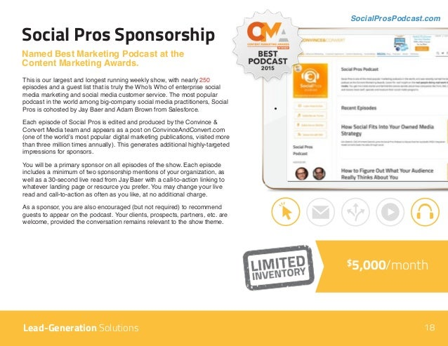 Social Pros Sponsorship Named Best Marketing Podcast at the Content Marketing Awards. This is our largest and longest runn...