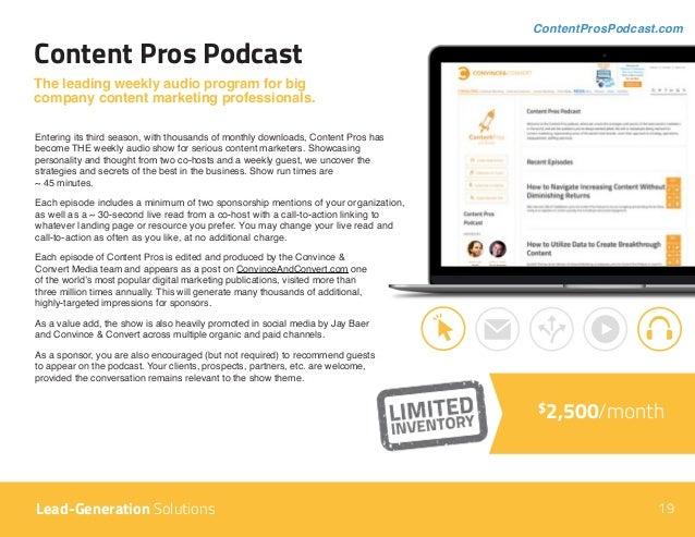 Content Pros Podcast ContentProsPodcast.com The leading weekly audio program for big company content marketing professiona...