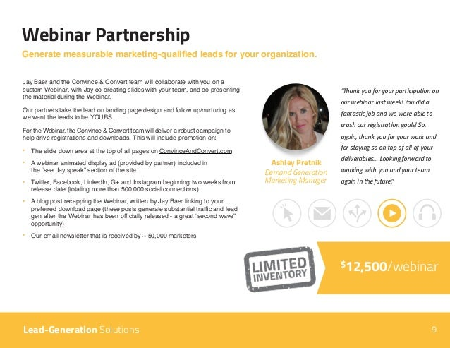 """9 Webinar Partnership Lead-Generation Solutions """"Thank you for your participation on our webinar last week! You did a fant..."""