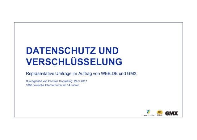 DATENSCHUTZ UND VERSCHLÜSSELUNG Repräsentative Umfrage im Auftrag von WEB.DE und GMX Durchgeführt von Convios Consulting; ...