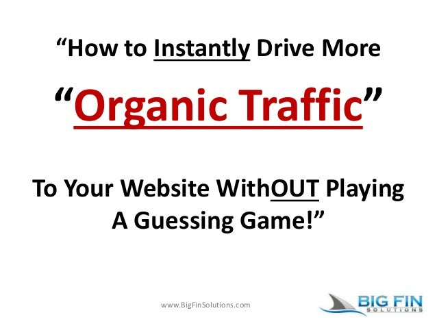 """www.BigFinSolutions.com """"How to Instantly Drive More """"Organic Traffic"""" To Your Website WithOUT Playing A Guessing Game!"""""""