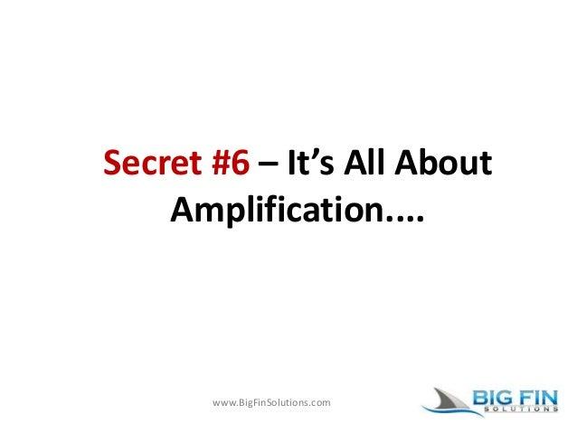 www.BigFinSolutions.com Secret #6 – It's All About Amplification....