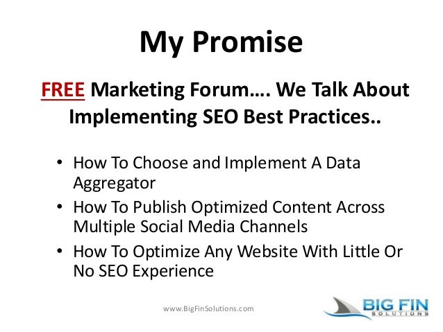 www.BigFinSolutions.com My Promise • How To Choose and Implement A Data Aggregator • How To Publish Optimized Content Acro...