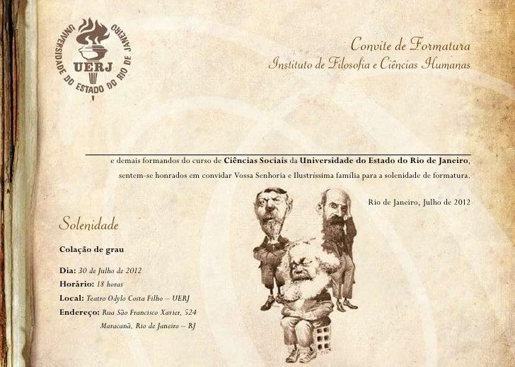 Convite de Formatura                                                           Instituto de Filosofia e Ciências Humanas  ...