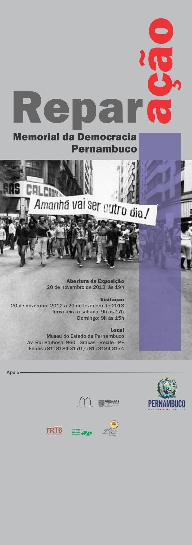 ação     C O N V I T E Repar  Memorial da Democracia            Pernambuco                                                ...