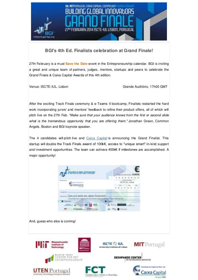 BGI's 4th Ed. Finalists celebration at Grand Finale! 27th February is a must Save the Date event in the Entrepreneurship c...