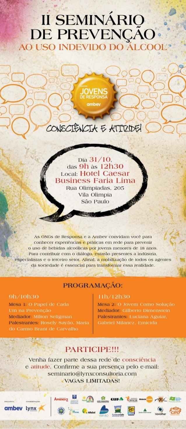 Convite para II Seminário de Prevenção do Uso Indevido do Álcool
