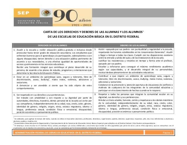 13 de mayo de 2011 Página 1ADMINISTRACIÓN FEDERAL DE SERVICIOS EDUCATIVOS EN EL DISTRITO FEDERAL Página 1 CARTA DE LOS DER...