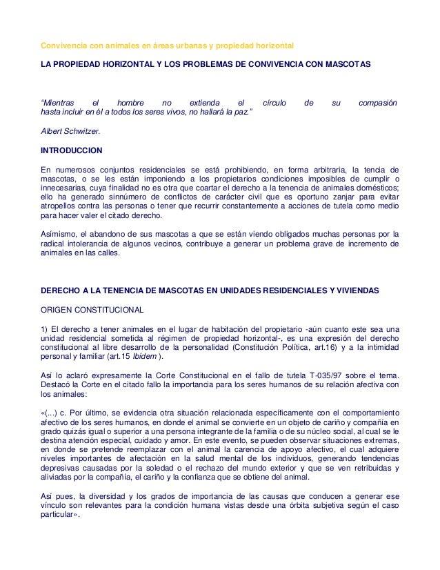 Convivencia con animales en áreas urbanas y propiedad horizontal LA PROPIEDAD HORIZONTAL Y LOS PROBLEMAS DE CONVIVENCIA CO...
