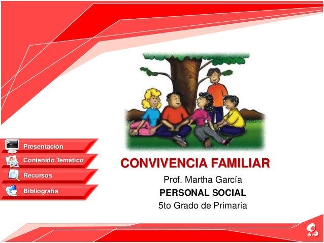 Prof. Martha García PERSONAL SOCIAL 5to Grado de Primaria Contenido Temático Recursos Bibliografía Presentación CONVIVENCI...