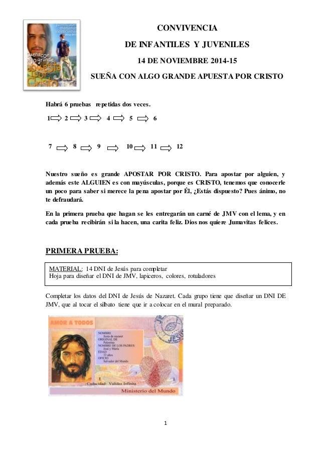 CONVIVENCIA  DE INFANTILES Y JUVENILES  14 DE NOVIEMBRE 2014-15  SUEÑA CON ALGO GRANDE APUESTA POR CRISTO  MATERIAL: 14 DN...