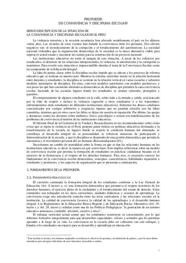PROPUESTA                                 DE CONVIVENCIA Y DISCIPLINA ESCOLAR1BREVE DESCRIPCIÓN DE LA SITUACIÓN DELA CONVI...
