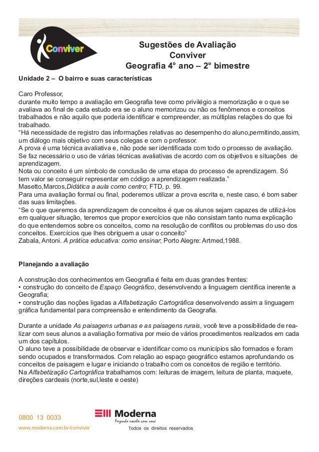 www.moderna.com.br/conviver T  Sugestões de Avaliação  Conviver  Geografia 4° ano – 2° bimestre  Unidade 2 – O bairro e su...