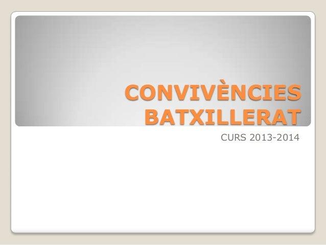 CONVIVÈNCIES BATXILLERAT CURS 2013-2014