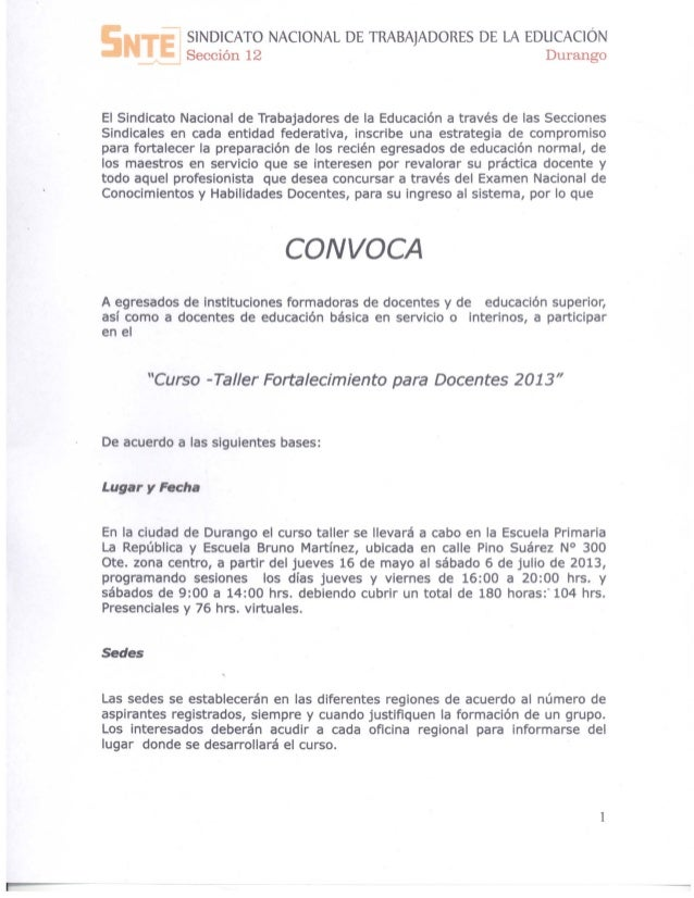 SlND1CATO NAC10NAL DE TRABAJADORES DE LA EDUCAC1ÓNSección 12 DurangoEl Sindicato Nacional de Trabajadores de la Educación ...