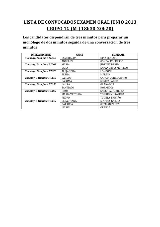 LISTA DE CONVOCADOS EXAMEN ORAL JUNIO 2013GRUPO 1G (M-J 18h30-20h20)Los candidatos dispondrán de tres minutos para prepara...