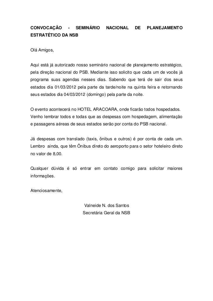 CONVOCAÇÃO          -   SEMINÁRIO     NACIONAL       DE      PLANEJAMENTOESTRATÉTICO DA NSBOlá Amigos,Aqui está já autoriz...